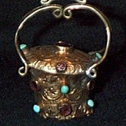 Silver Gilt Watch Fob/Seal With Genuine Stones
