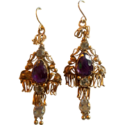9 carat Amethyst and Crystal earrings, Early Victorian