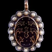Memorial Locket, with Pearls, Victorian