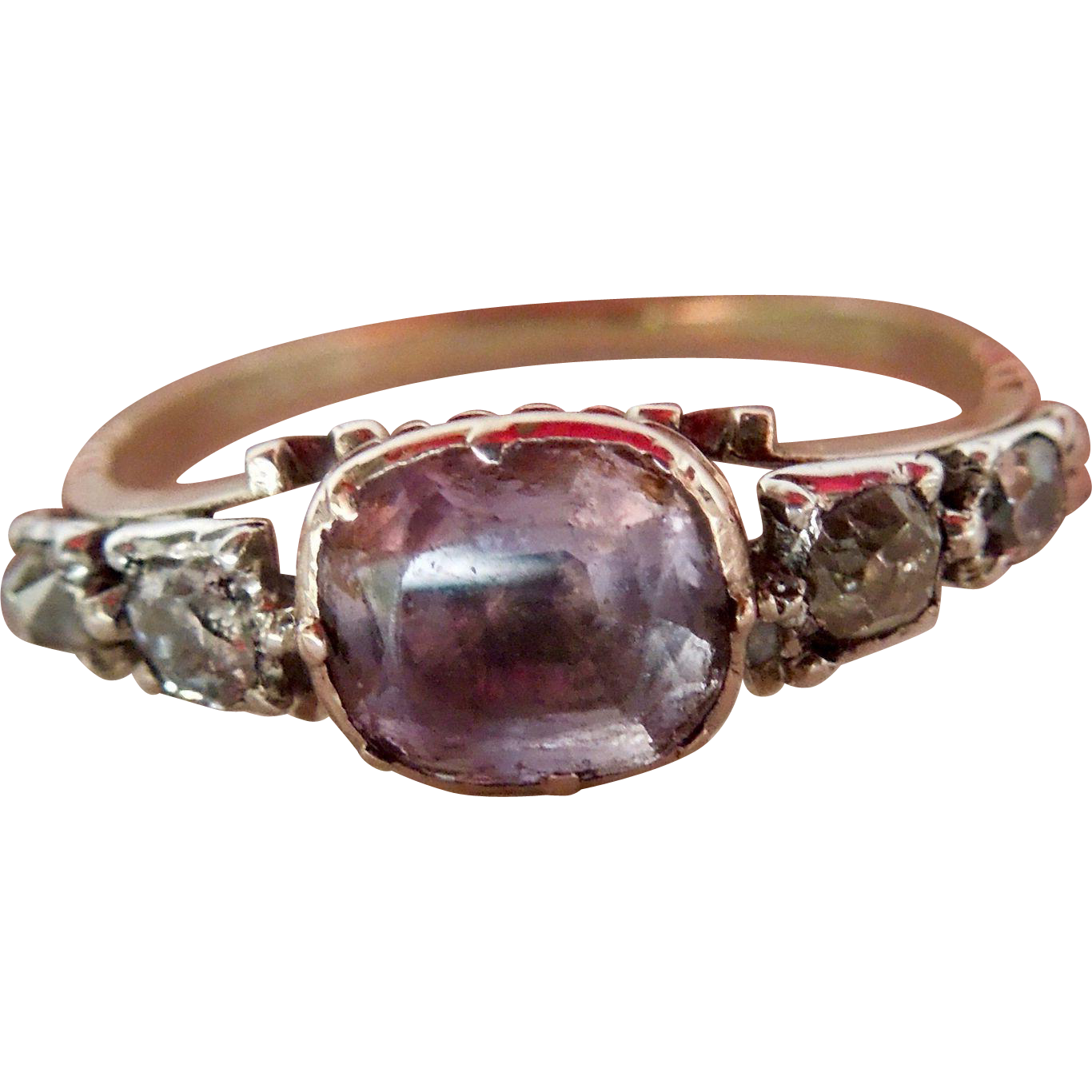 Amethyst and Diamond ring, Georgian