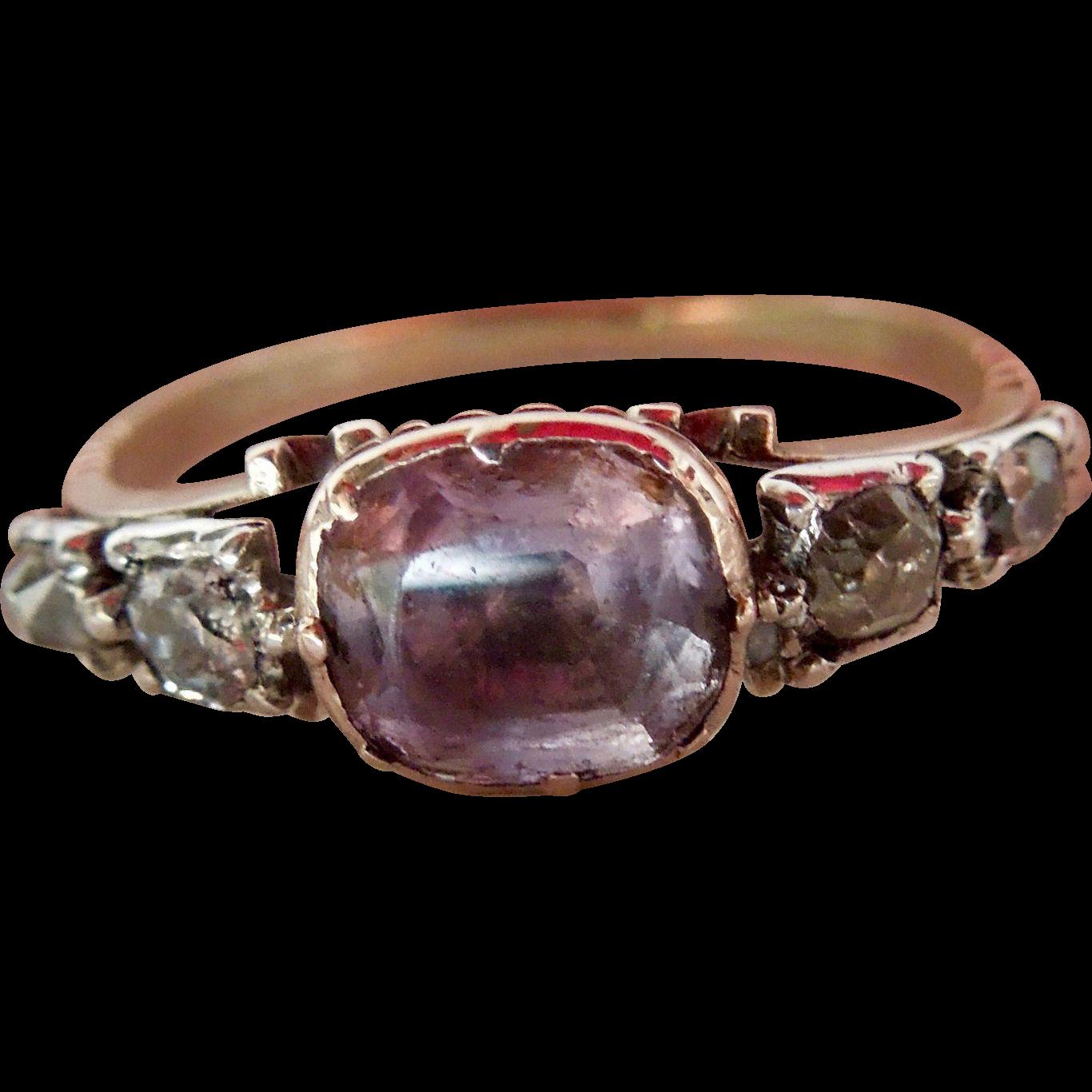 Amethyst and Diamond ring, Georgian