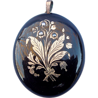 Memorial Locket, Black enamel, Lilies of the Valley
