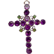 Georgian cross, amethysts and emeralds on silver