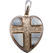 Scottish heart and cross, Chalcedony and silver, CA 1880