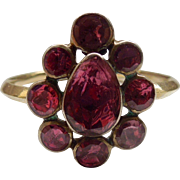 Foiled, flat cut garnet ring, Georgian