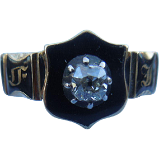 Memorial Ring, With Rose Cut Diamond, Georgian