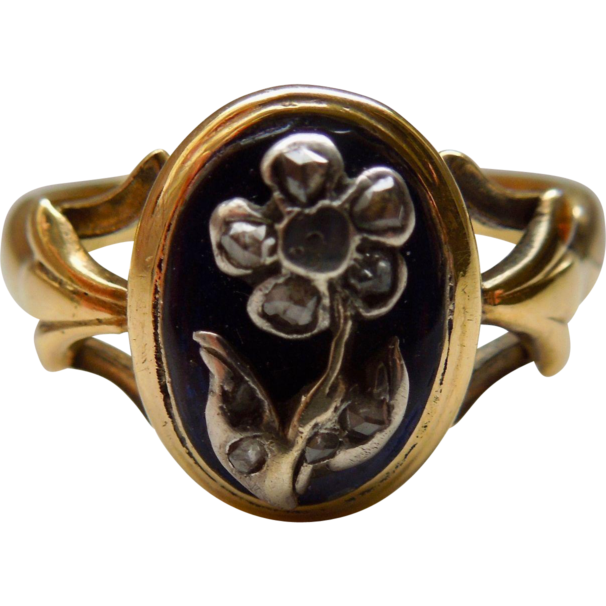 Memorial Ring, Rose Cut Diamonds on Verre Eglomise, Georgian