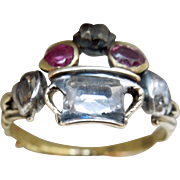 Giardinetti Ring, With Table Cut Diamonds, and Rubies, Georgian