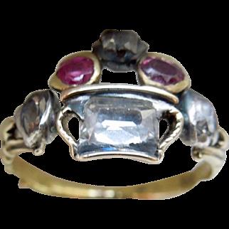 Giardinetti Ring, With Table Cut Diamonds, and Rubies, Georgian