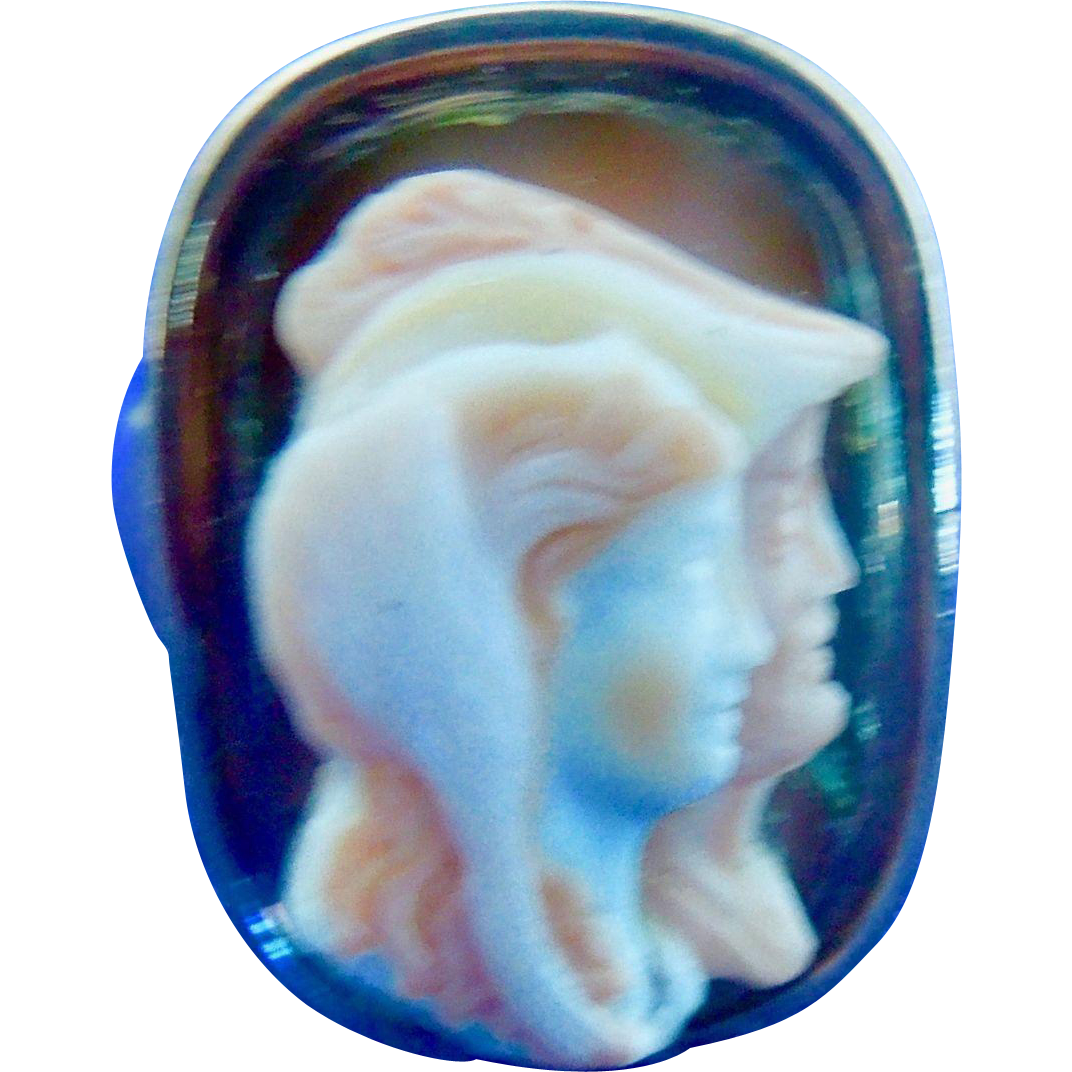 Hardstone cameo, Two faces , ring, Georgian