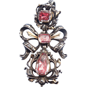Pink Topaz and Diamond Pendant, Georgian