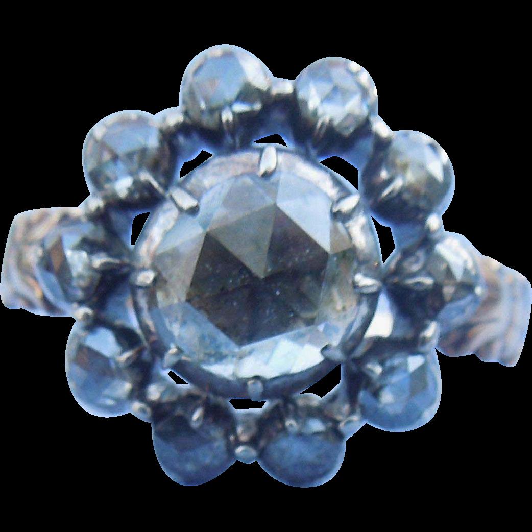 Rose Diamond Cluster Ring, Large Center Diamond, Georgian