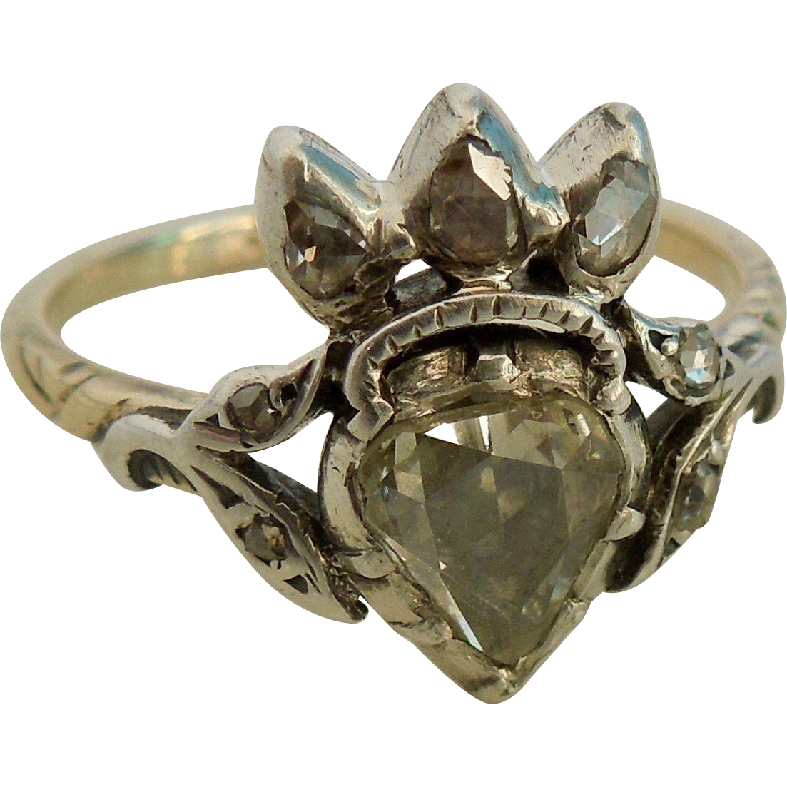 Heart and Crown Ring, Rose Cut Diamond, Georgian