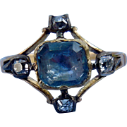 Sapphire and Rose Cut Diamond Ring, Early Victorian