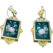 Pietra Dura Earrings, Victorian