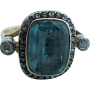 Aquamarine and rose cut diamond ring, Georgian
