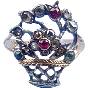 Giardinetti Ring, Rose Cut Diamonds, rubies, Emerald, Georgian