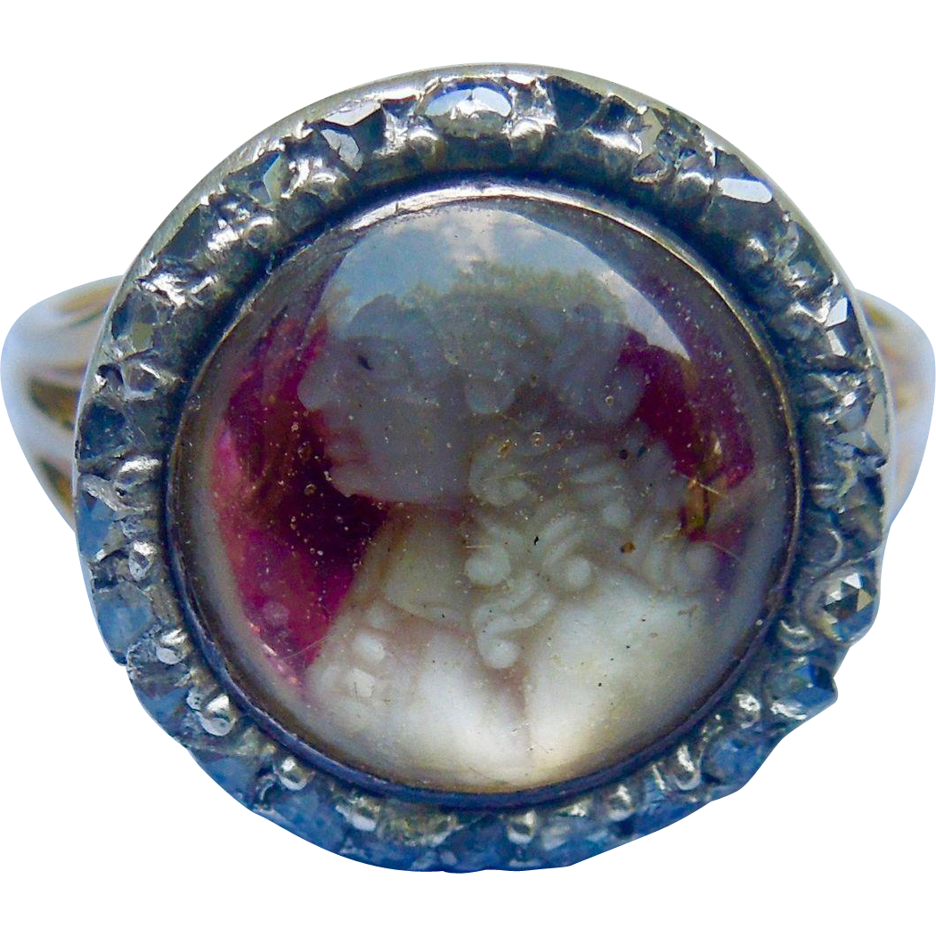 Wax Portrait Ring, Georgian