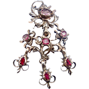Georgian Rose Cut Diamond and Ruby Pendant
