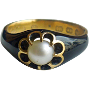Black Enamel Mourning Ring with .50 point Natural Pearl, Victorian