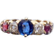 18 carat band with rubies, diamonds, and a sapphire, Victorian