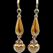 9 ct Heart Earrings, Late Victorian