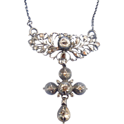 Georgian Rose Cut diamond cross with chain, silver