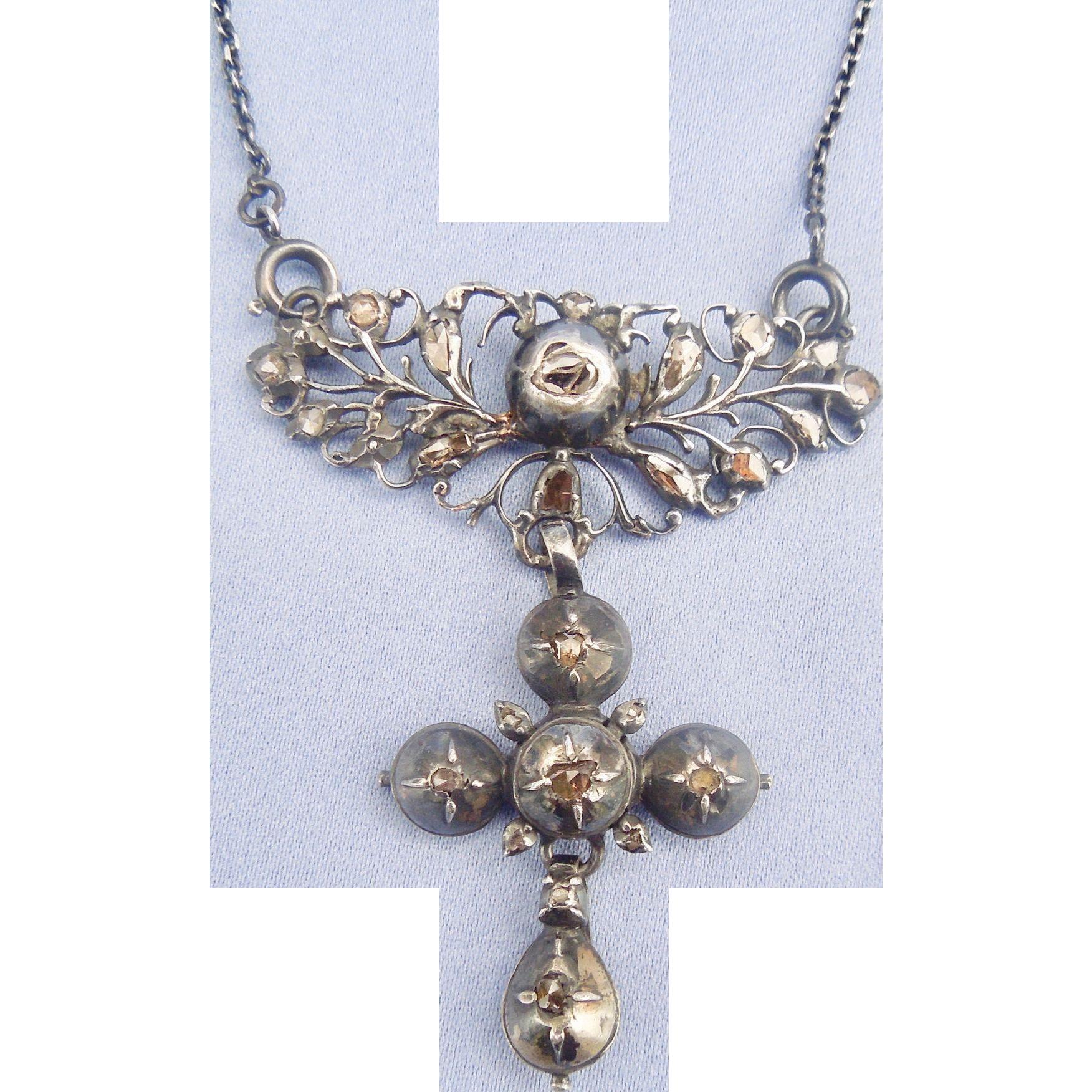 Georgian Rose Cut diamond cross with chain, silver