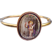 15 ct, Enameled Cupid Bangle Bracelet