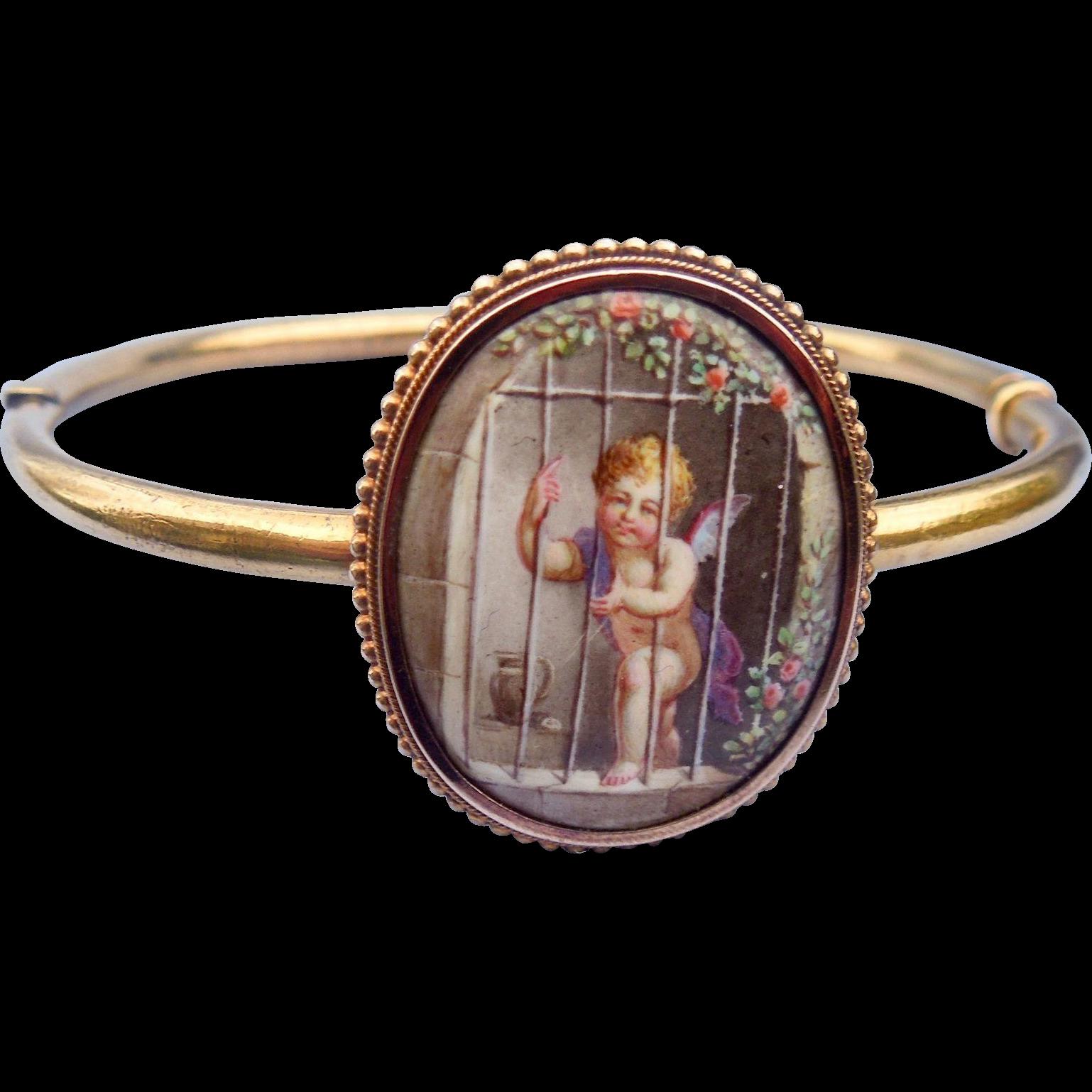 15 ct, Enameled Cupid Bangle Bracelet