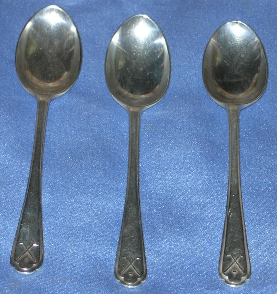 Three Silver Demitasse Spoons With Crossed Gold Clubs, Sheffield Silver, 1933