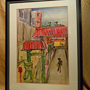 Chinatown Grant St watercolor painting by Mark Luca CA artist