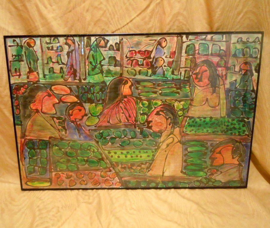 Watercolor Produce in grocery market Berkeley by Mark Luca CA artist