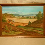 Th. e. lingus oil painting farm scene large