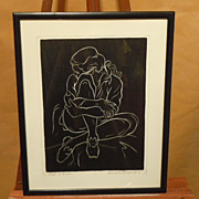 """Girl in Levis"" by Charles Surendorf linoleum engraving"