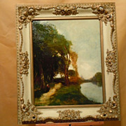 Johan Schuld Dutch American oil painting landscape with peasant