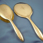 Sterling silver hand mirror & brush Alvin fleur de lys design
