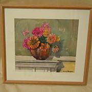 Watercolor still life of zinnias in vase signed DELBOB