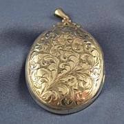 Sterling silver large locket Art Nouveau style