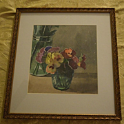 Watercolor still life of Pansies in vase by Delbob