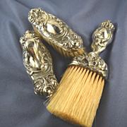 Unger Bros. Secret of the Flowers sterling vanity brushes & nail buffer