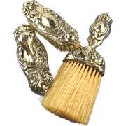 Unger Bros. Secret of the Flowers sterling vanity brushes & nail buffer