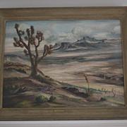 Desert landscape joshua trees oil signed