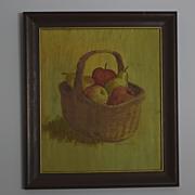 Still life basket of fruit signed painting