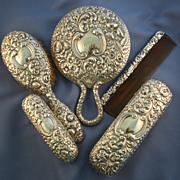 Gorham repousse 5 piece sterling vanity set