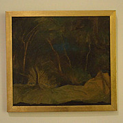 Landscape at night surreal oil painting