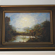 Folk art African American Ohio river landscape oil painting