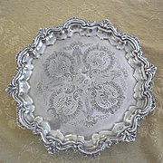 Silver plated round tray footed