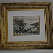 Golden Gate Park San Francisco sailing ship watercolor by W. R. Cameron