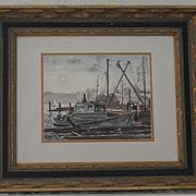 Oakland California estuary boat watercolor W. R. Cameron